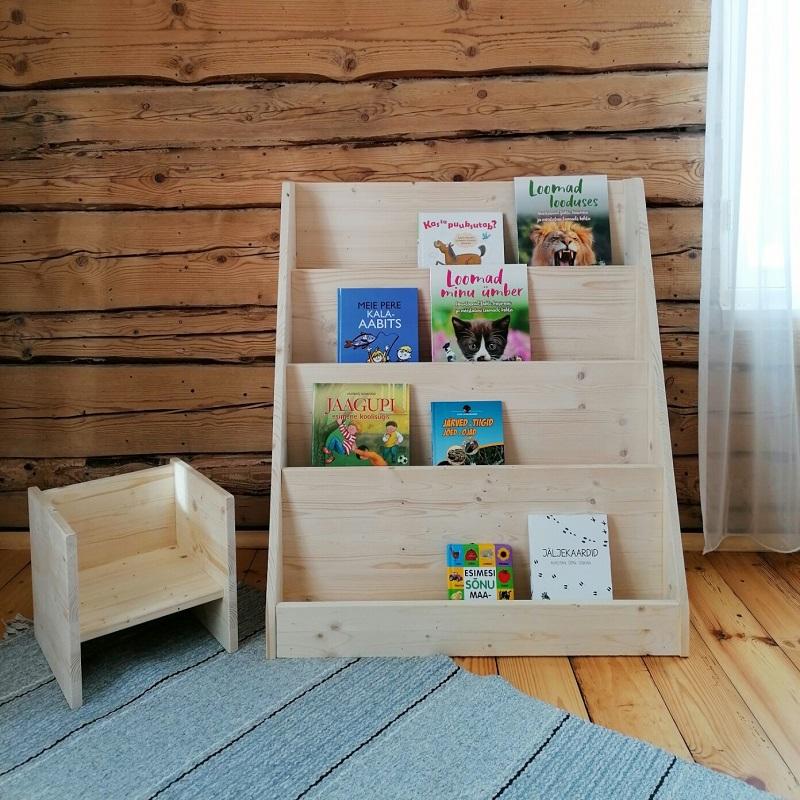 Avatud Montessori raamaturiiul puidust